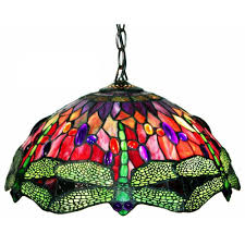 Ceiling Fans With Tiffany Style Lights Warehouse Of Tiffany Dragonfly 2 Light Brown Stained Glass Hanging