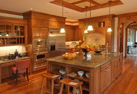 interior european kitchen design of kitchen island with brown