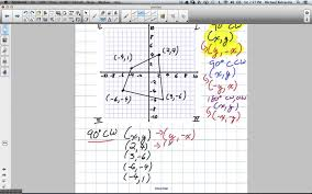 Coordinate Grid Pictures Worksheets Rotation Of 90 Degrees Clockwise By Coordinates Grade 8 Nelson