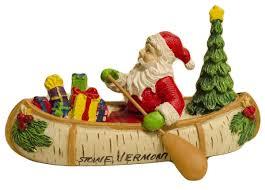 cape shore stowe vt santa in a birch canoe ornament
