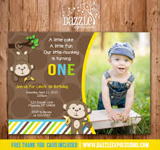 printable mod monkey birthday photo invitation free thank you