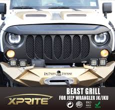 ebay jeep wrangler accessories xprite beast grille grill matte w built in mesh for 07 17 jeep