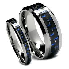 matching wedding band sets matching tungsten wedding band set black and blue carbon fiber top