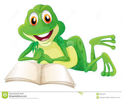 a frog lying while reading a book stock photos image 33203333