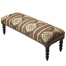 Ottoman Bench Rustic Taupe And Ivory Jute Upholstered Ottoman Bench Woodwaves
