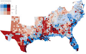 Map Of The Southern United States by Mapping Social Vulnerability In Southeastern States And The Gulf