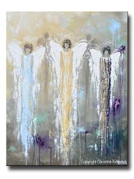 Angels Home Decor by Giclee Print Abstract Angel Painting 3 Guardian Angels Blue Gold