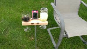 outdoor wine glass holder table wine glass holder smartphone dock speaker works w most