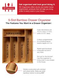 Bamboo Silverware Holder Amazon Com Kd Organizers 5 Slot Bamboo Drawer Organizer 13 5 X