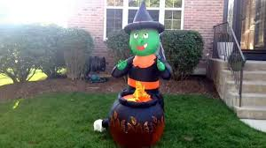 halloween inflatable airblown inflatable witch w cauldron animated halloween decoration