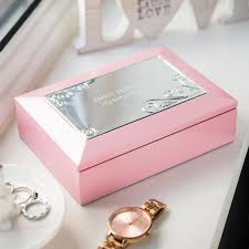 personalised jewelry box personalised pink musical jewellery box gettingpersonal co uk