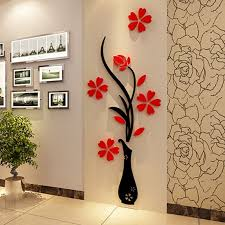 3d plum vase wall stickersreative wall living room entrance