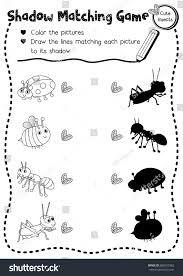 shadow matching game insect bug animals stock vector 688655362