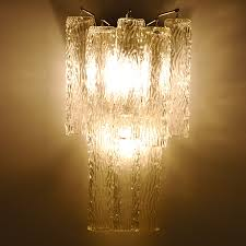 Glass Wall Sconce Deco Venini Draped Organic Style Glass Wall Sconce Lighting