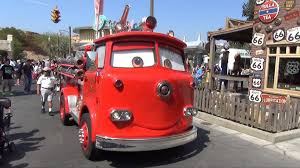detailed red fire truck cars land disney