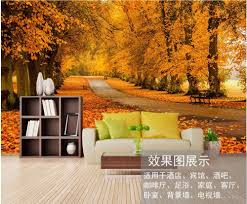autumn forest wall mural promotion shop for promotional autumn custom photo 3d wallpaper non woven autumn yellow path in the forest decoration painting 3d wall mural wallpaper for living room