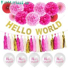 baby shower sign hello world banner baby shower sign backdrop girl boy 1st birthday