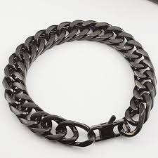 black stainless steel chain bracelet images Men 39 s black stainless steel heavy link chain bracelet things to jpg