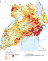 Map Of Uganda Africa by Uganda Density Of Households Without Improved Sanitation
