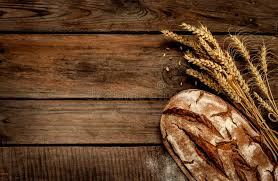 rustic bread and wheat on vintage wood table stock image image