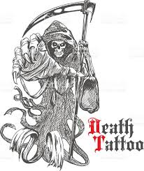 grim reaper sketch skeleton cape stock vector art