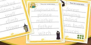 rapunzel trace the words worksheet rapunzel key word key