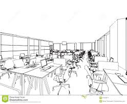 interior office outline drawing sketch stock vector image 61250071