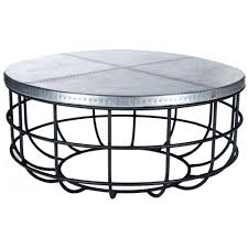 axel iron coffee table with round hammered zinc top