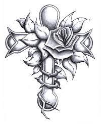 grey flower and cross design