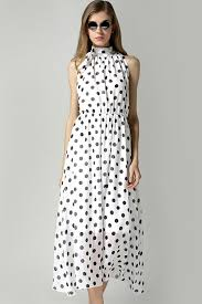 white polka dot print halter neck chiffon maxi dress casual