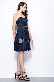 feminine navy lace strapless sweetheart short vintage bridesmaid