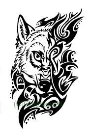 beautiful tribal wolf design by greeneco94