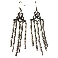 Turquoise Chandelier Earrings Polyvore Pre Owned Classic Chain Silver Lava Chandelier Earrings With Black