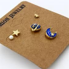 post style earrings 5pcs set galaxy style women stud earrings blue enamel universe