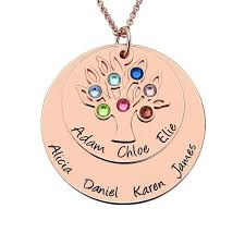 personalized family tree necklace personalized family tree birthstone necklace gold