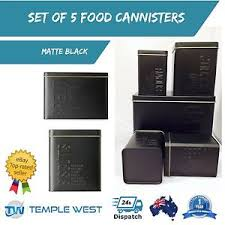 black canisters for kitchen set of 5 black canisters bread bin biscuit tin tea coffee sugar