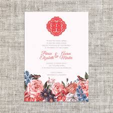 wedding wishes in mandarin peonies wedding one fold card for modern weddings
