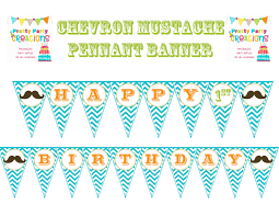Happy Birthday Flags Chevron Mustache Bash Happy Birthday Banner Pennant You