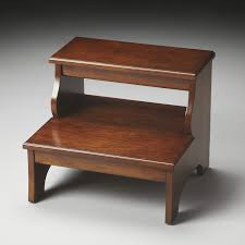 furniture oak wooden step stool with three steps on cozy berber