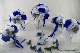 wedding flowers royal blue silk wedding flowers bridal bouquets royal blue silver and white