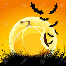 halloween night background halloween night background with pumpkin bat grass and moon royalty