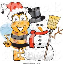 stock cartoon of a festive honey bee mascot cartoon character with
