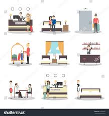 isolated hotel set on white background stock vector 561885889