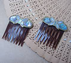 vintage hair combs vintage hair combs 2 mexican brass abalone shell and of