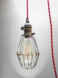 Red Light Fixture by Industrial Brass Patina Cage Light Edison Pendant Light Fixture