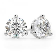 martini diamond earrings classic stud round cut stud earrings back
