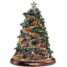 kinkade illuminated nativity tabletop tree