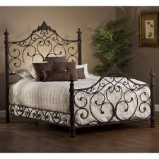 bedroom wrought iron bed king black frame brown bed 4 pilar twin