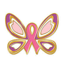 jewelry quality butterfly ribbon breast cancer awareness lapel pin
