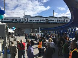 seatac light rail station angle lake light rail station opens to party and protest kuow